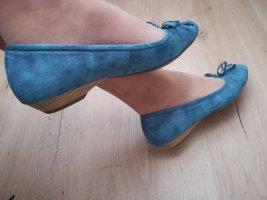 #Kleiner Absatz Ballerina #Zartes Velour's Leder #Royal Blau #Marco Tozzi