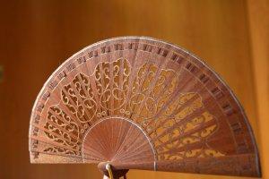 Hand Fan multicolored wood