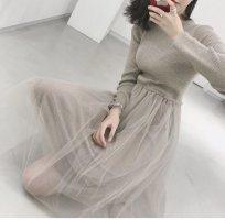 Vestido tejido crema