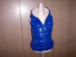Fishbone Hooded Vest neon blue fake fur