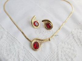 Kobra Kette 22karat vergoldeter Paisley Schmuck rubin farben rot