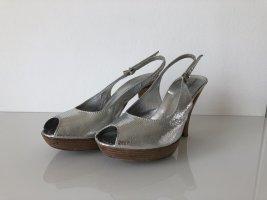 Konstantin Starke Sling-Pumps Peeptoes Silber Größe 37