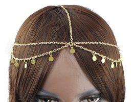 Kopfschmuck, Kopfkette, Haarkette, Kette goldfarben,