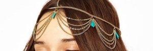 Kopfschmuck, Kopfkette, Haarkette, mit türkisfarbenen Steinen, Kette goldfarben,