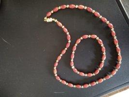 Collar de perlas rojo-albaricoque