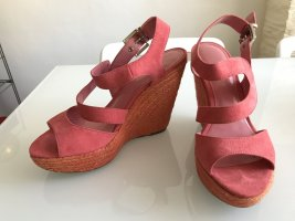 Charles & Keith Wedge Sandals bright red-salmon