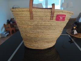 World of Baskets Bolso tipo cesta beige claro-rosa