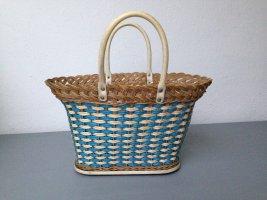 Bolso tipo cesta azul neón-crema