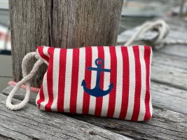 Kosmetik Tasche Anker Streifen Rot Kultur Tasche