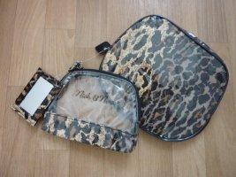 Kosmetik Taschen Set 3tlg mit Spiegel Travel Reise Set Leoparden Muster NEU