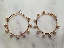 Ear Hoops gold-colored-natural white