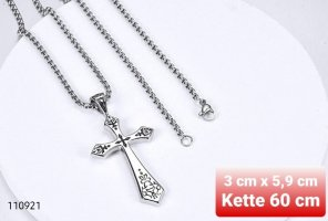 Kreuz Anhänger aus Chirurgenstahl mit Kette (NEU) (VERSAND)