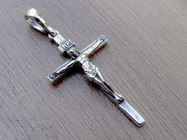 Kreuz Sterling Silber 925 Anhänger INRI Jesus Christ Kruzifix Religiöse Unisex