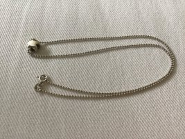 Necklace light grey-silver-colored real silver