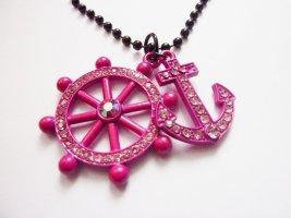 Kugelkette schwarz mit Anker und Steuerrad Anhänger Kristall Schmuck pink rosa Rockabella Style Accessoires