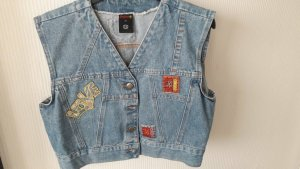 JINGLERS Gilet en jean gris ardoise coton