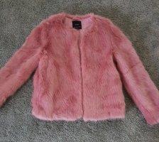 Jacke Mantel Fake Fur Plüsch rosa Bershka