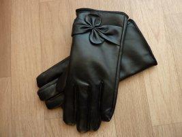 Kunstleder Handschuhe schwarz M gefüttert mit Schleife