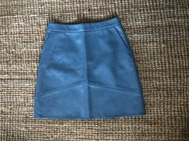 Zara Basic Faux Leather Skirt cornflower blue