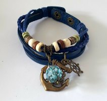 Leather Bracelet steel blue-gold-colored