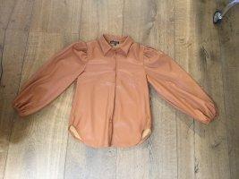 Kunstlederbluse Bluse Made in Italy braun Cognac Gr M