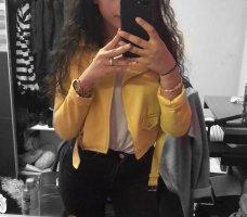 Bershka Leather Jacket yellow