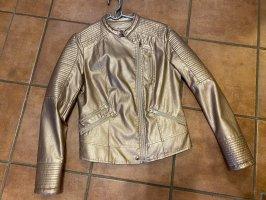 Regular Denim Faux Leather Jacket gold-colored