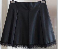 SusyMix Faux Leather Skirt black viscose