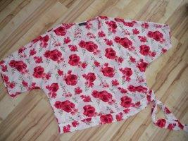 Kurzarm Bluse, Rosen, weiß-rot, Gr.46