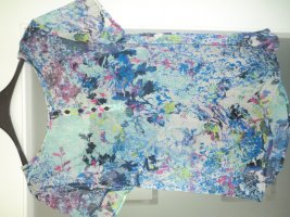Kurzarm Chiffon Bluse mit Blütenmuster