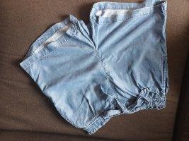 H&M Pantalón corto de talle alto azul celeste Algodón