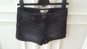 H&M Pantalón corto de tela vaquera negro-gris antracita