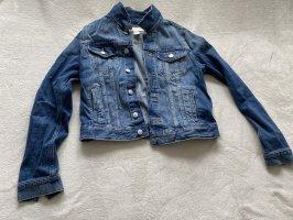 Kurze Jeansjacke dunkelblau