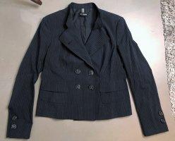 Kurze leichte Jacke Blazer schwarz sommer - Wolle Nadelstreifen 40 L