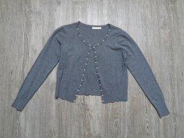 Kurze Strickjacke Jacke grau Perlen S M