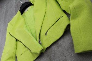 Kurzer Zara Biker-Blazer in neongelb/grün Größe L