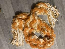 Kuschel Schal mit Echt Fell in apricot-Creme