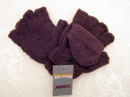 Magic Fingerless Gloves brown mixture fibre