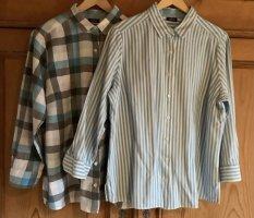 Walbusch Lange blouse lichtblauw-wolwit Katoen