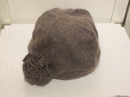 H&M Chapeau en tricot gris brun-marron clair laine angora