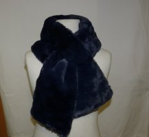 Knitted Scarf dark blue-neon blue polyester