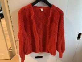 Cardigan in maglia rosso