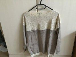 Bluoltre Kraagloze sweater licht beige-grijs-bruin Viscose