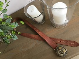 La Martina Cintura di pelle cognac-grigio