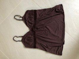 Haut évasé en bas brun noir tissu mixte