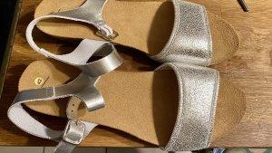 """La Shoe"" Sandalen, Leder, Kork, silber 42, Neu!"