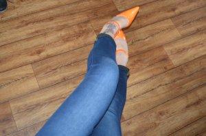 Lack High Heel Riemchen Pumps in Orange  Gr 39