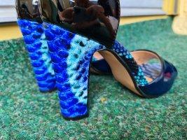 Lack High Heels Absatzschuhe Sandaletten Riemchen Gr. 36 schwarz dunkelblau blau