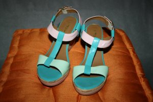 Lack / Keil Sandale / Sandalette blau / rosa von Tamaris Gr. 37