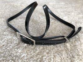 Cinturón de cuero de imitación negro-color plata